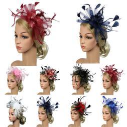 Women's Hair Accessory Clip Feather Mesh Wedding Bridal Part