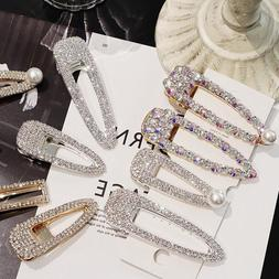 Women's Luxury Shiny Crystal Pearl Hair Clip Barrette Hairpi