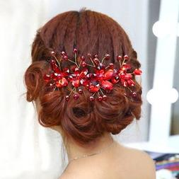 Women's Red Flower Hair Pin Clip Wedding Bridal Accessory Pa