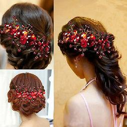 Women's Red Flower Wedding Bridal Party Accessory Handmade H