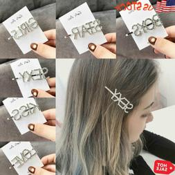 Women's Rhinestone Word Letters Hair Clip Hairpin Slide Grip