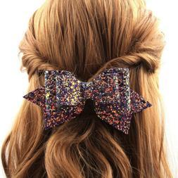 Women's Shiny Sequin Big Bowknot Barrette Hairpin Hair Clip