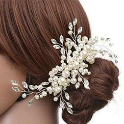Women's Wedding Jewelry Hair Clip Crystal Pearl Flower Tiara