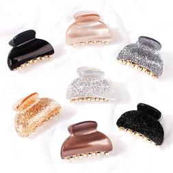 Women Solid Color Acrylic Square Round Hair Claw Hair Clamp