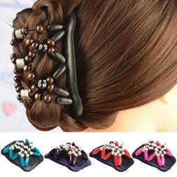 women stretchy magic hair clip hairpin double