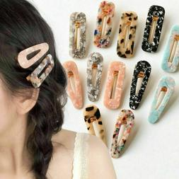Women Vintage Leopard Resin Hair Snap Clip Tortoise Shell Sl