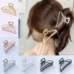 Womens Plain Geometric Metal Hair Claw Clamp Hair Crab Half