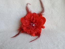 Womens red feather flower pony tail holder hair clip pin bro